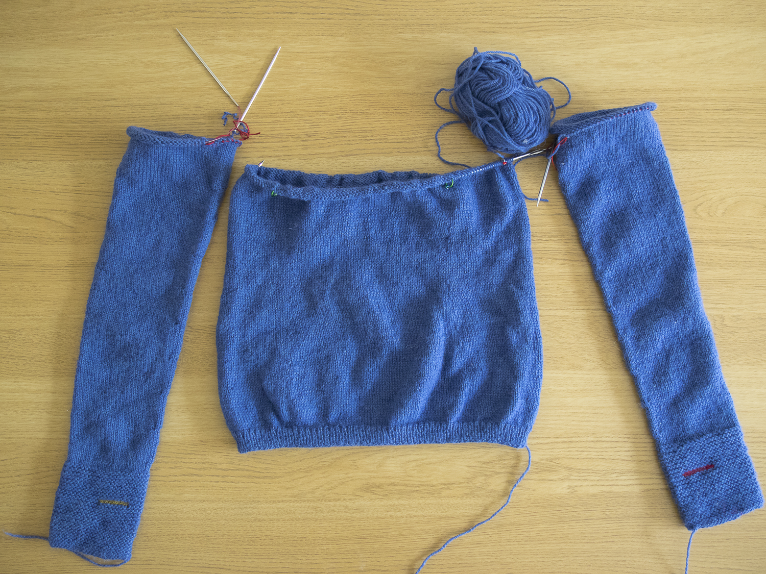 Joining the Sleeves and Body on a Seamless Bottom Up Sweater