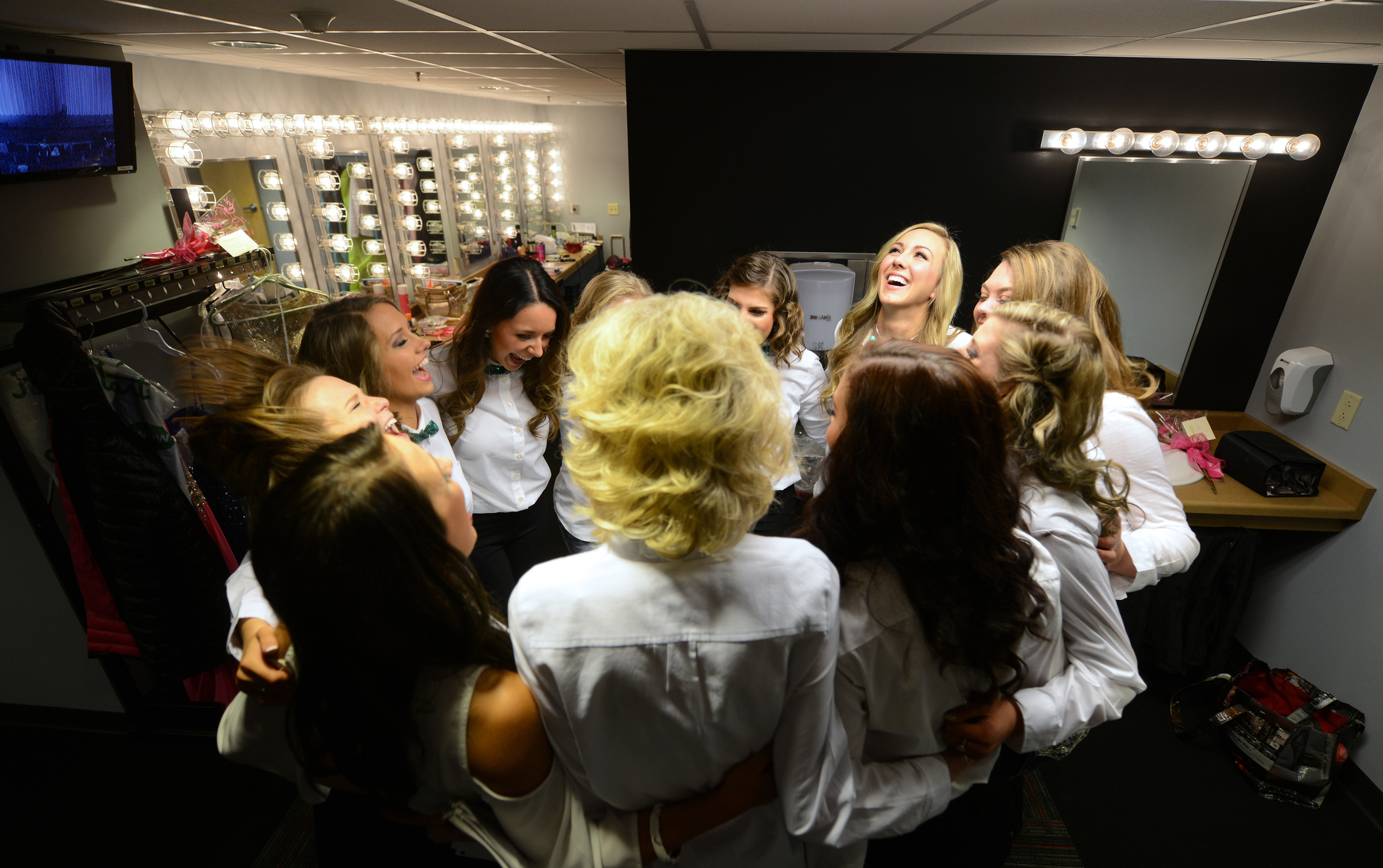 In the group huddle minutes before the show.
