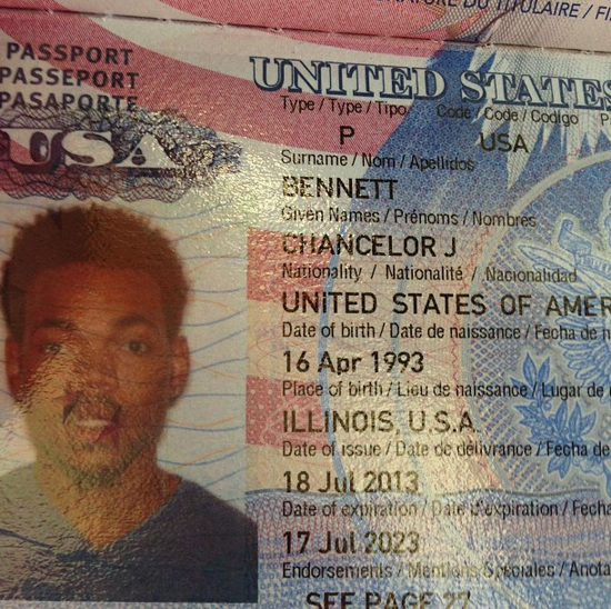 Chance the Rapper's passport  Image via Instagram  @chancetherapper