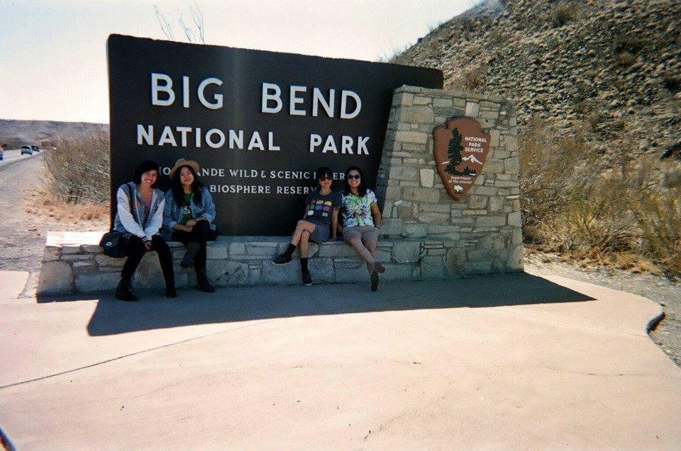 A pit stop at Big Bend with KXSC staffers (left to right: Samantha Hampar, Candice Aman, Sachi Kobayashi, and Alex Yen) in Spring 2012 when KXSC road-tripped to South by Southwest in Austin, Texas. (photo courtesy of Sachi Kobayashi).