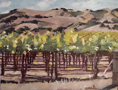 This one would best be called Down the Row, because that's what you're doing when you look at it. I was captivated by the patterns under the vines. This is a small finished oil of one of the Edna Valley Vineyard's chardonnay.