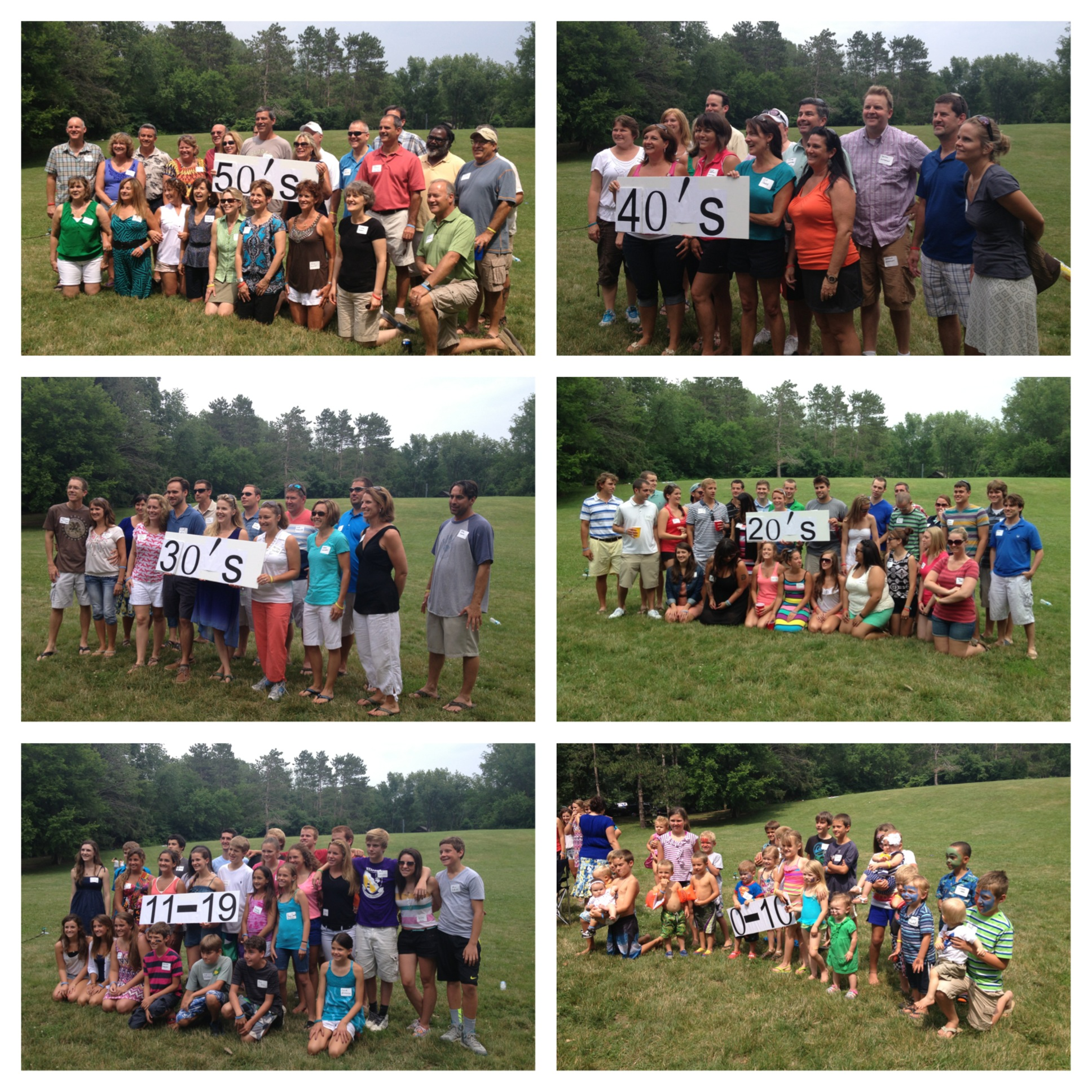 Picture collage of the age groups at my family reunion this summer. So fun to see so many relatives together at the lake!