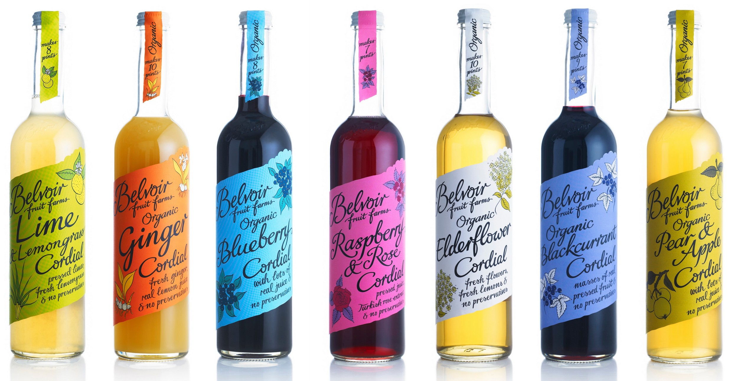 8 Flavours of the Belvoir Cordials   You can purchase a sampler set  here !