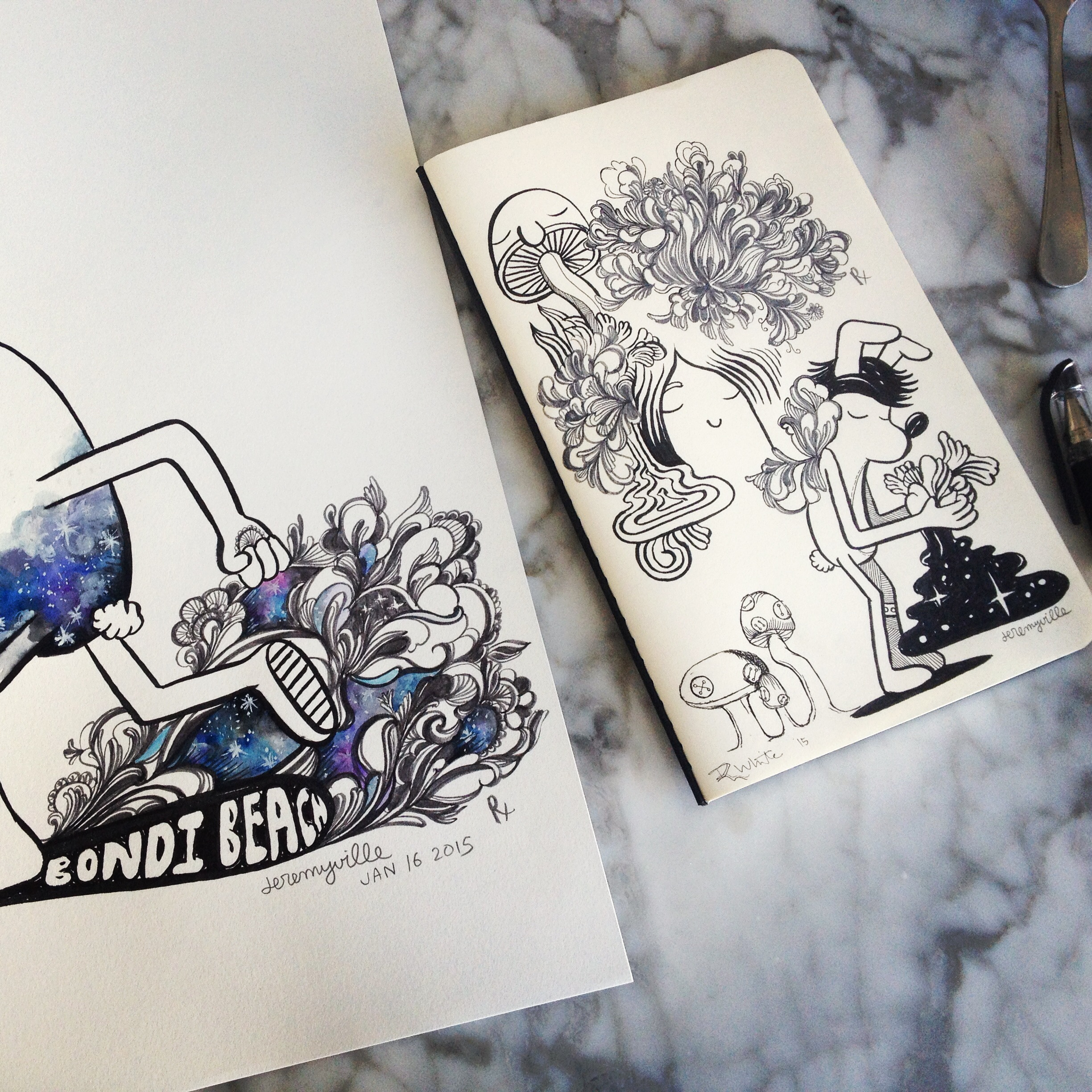 Art Collaboration with Jeremyville! Ink and watercolour on drawing block