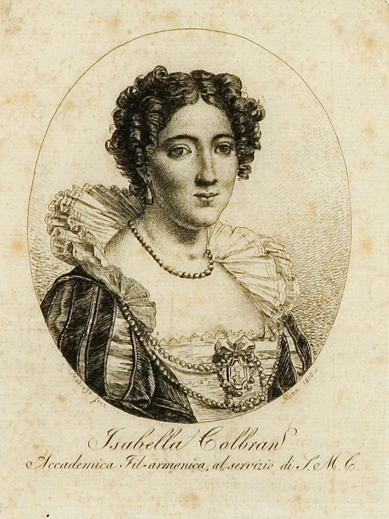 / Rossini arriva a Napoli  ...    Isabella Colbran.  Incisione di Josè de Madrazo, Roma, 1810.
