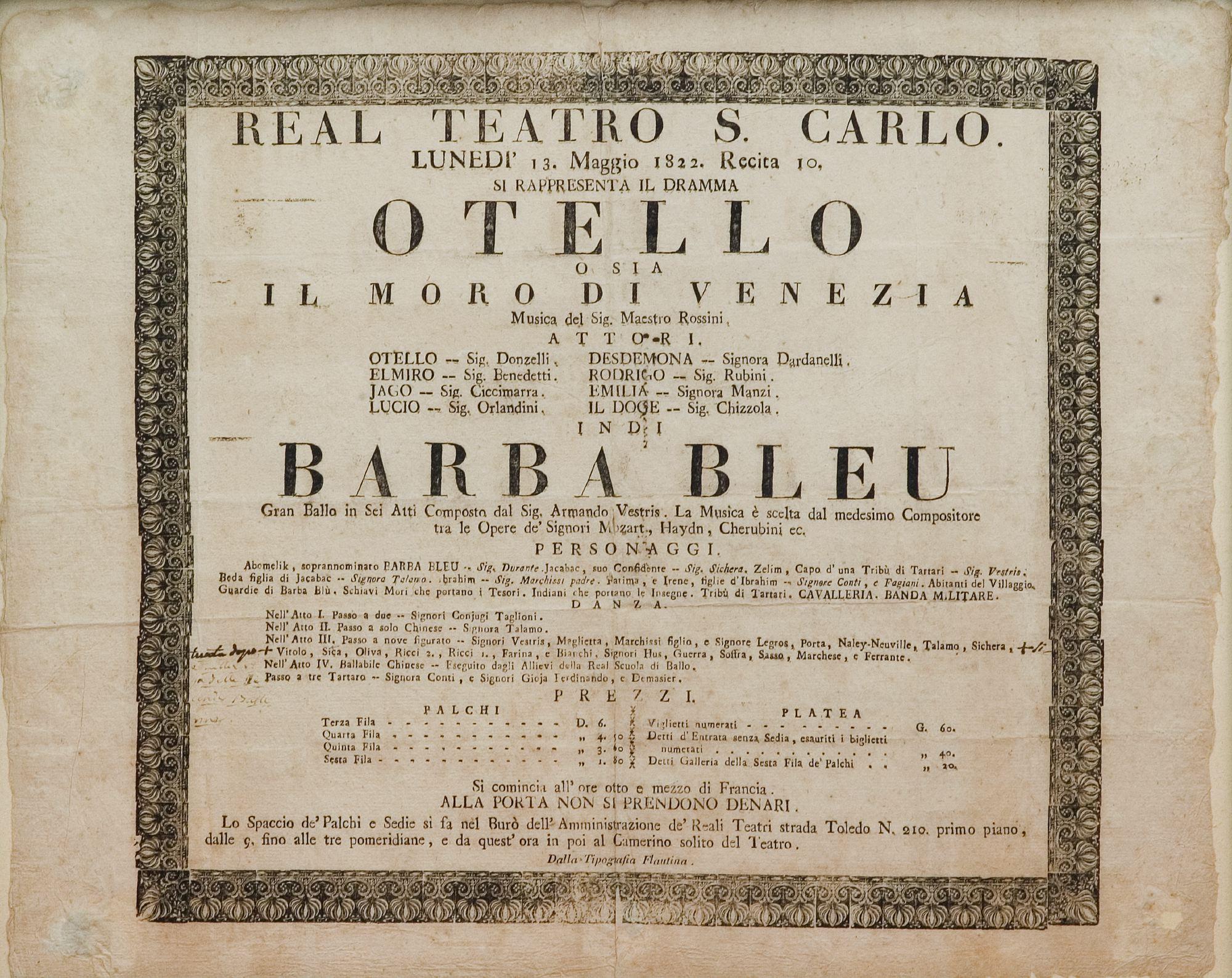 / Otello    Otello. Locandina per la recita del 13 maggio 1822 al Teatro di San Carlo.