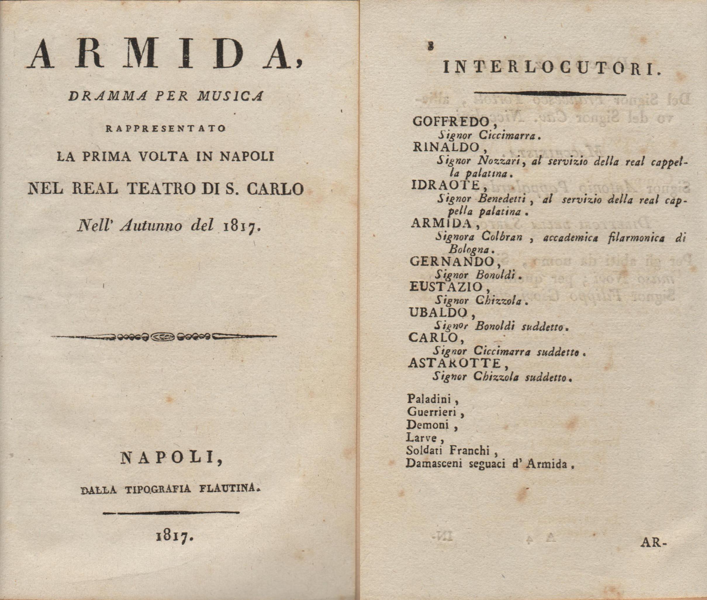 / Armida    Armida.  Libretto per la prima rappresentazione dell'opera.Napoli, Tipografia Flautina, 1817.