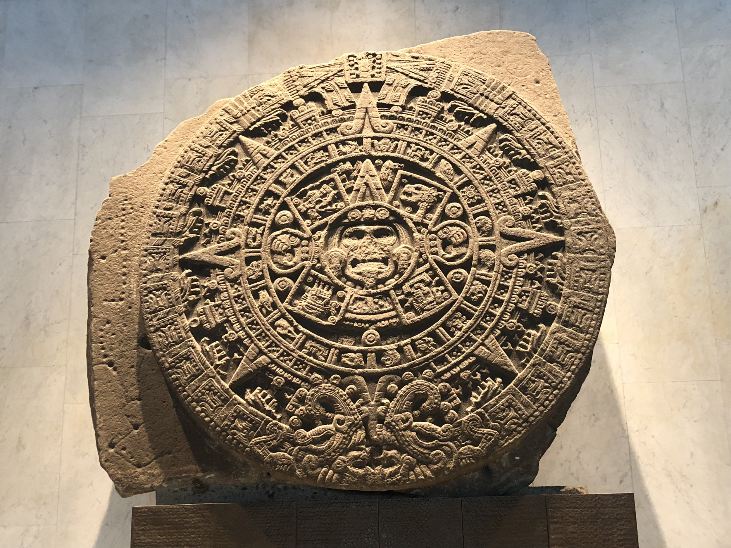 Aztec calendar stone. What time is it?