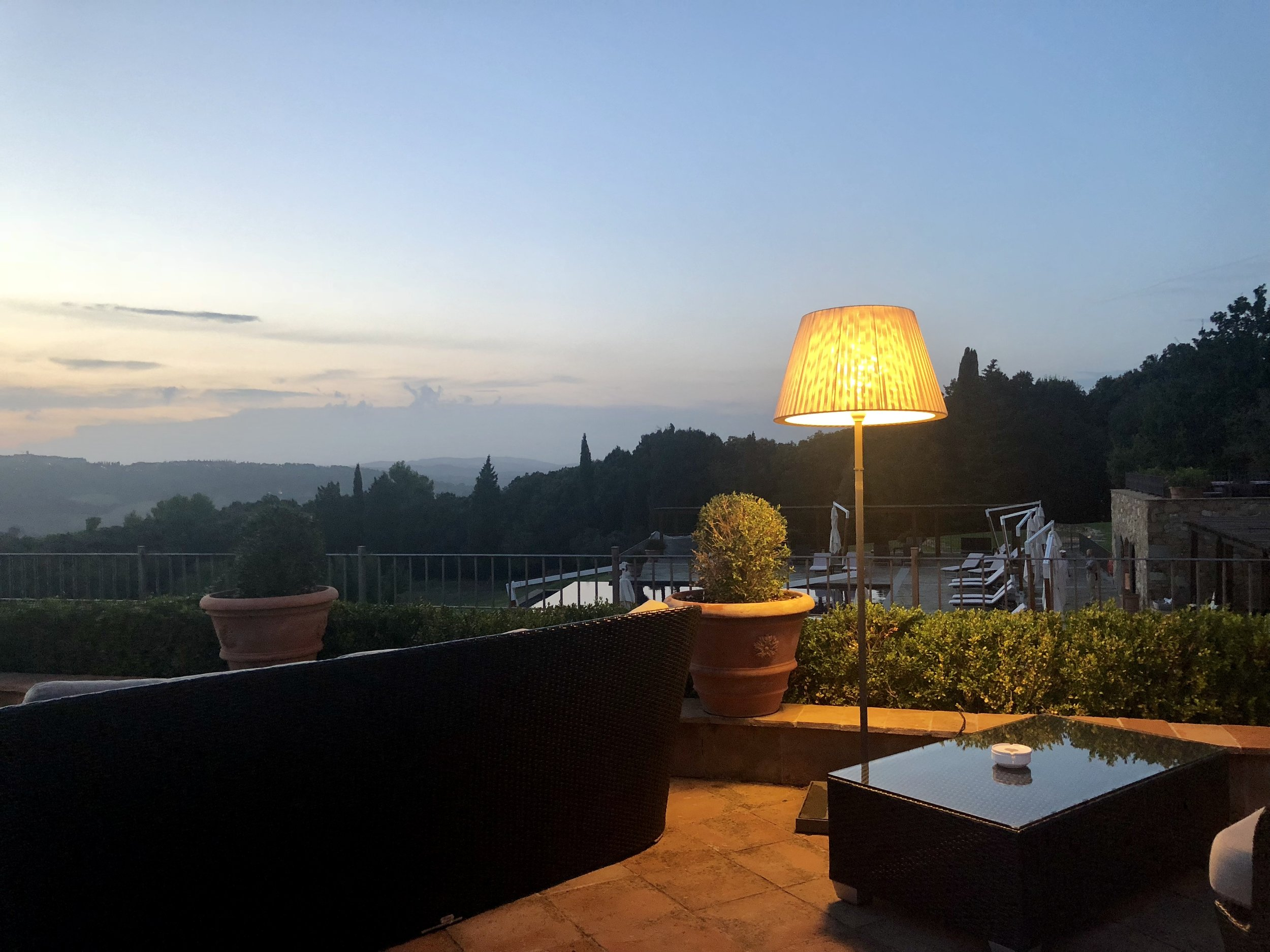 Sunset dining at Belmond Castello di Casole