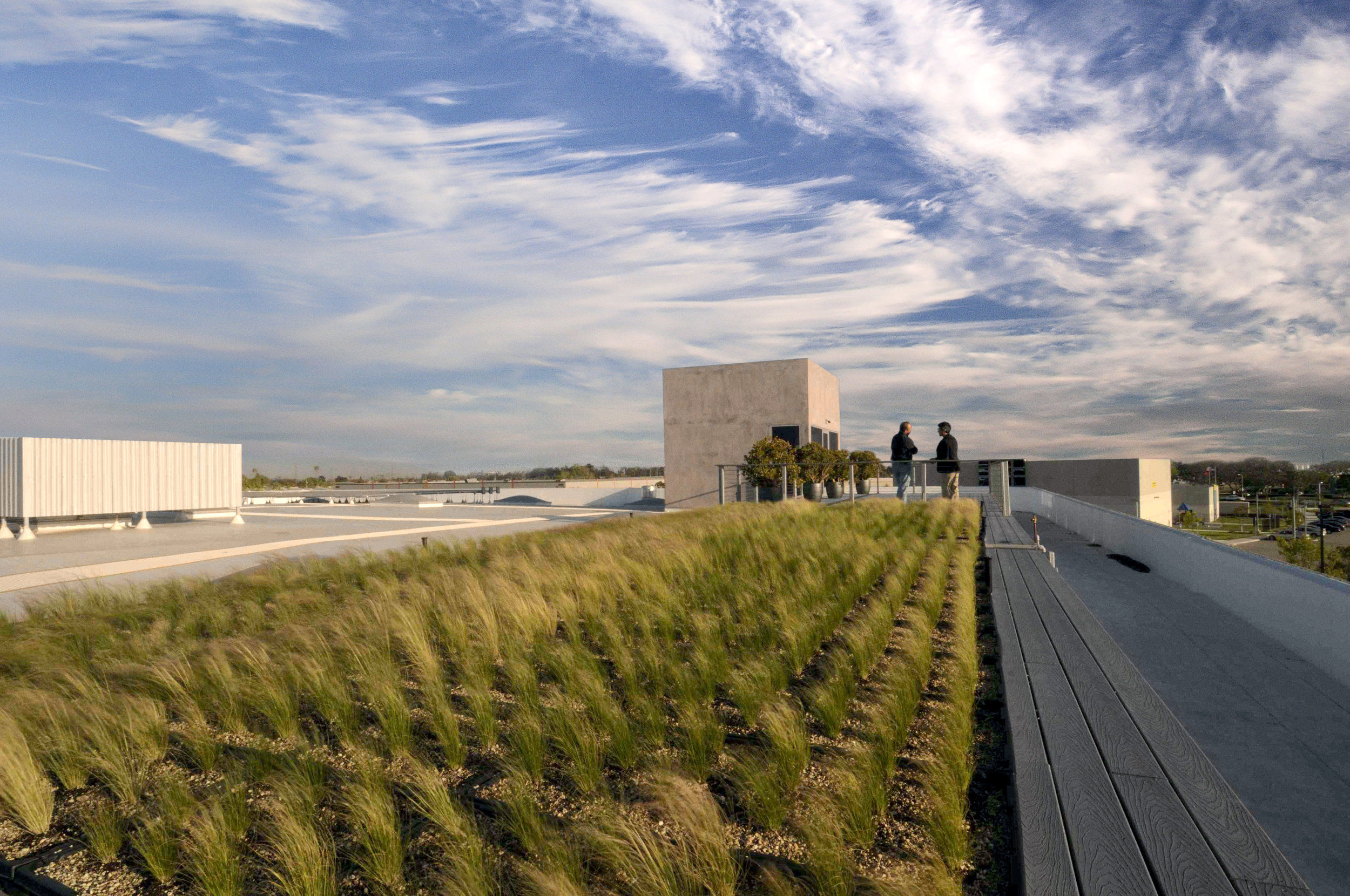 The green roof above the  Mullin Automotive Museum , an adaptive reuse of a warehouse building into a cultural institution.