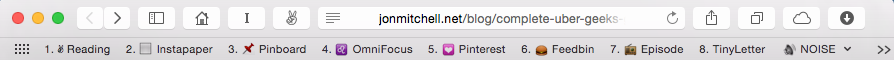 My desktop bookmarks bar