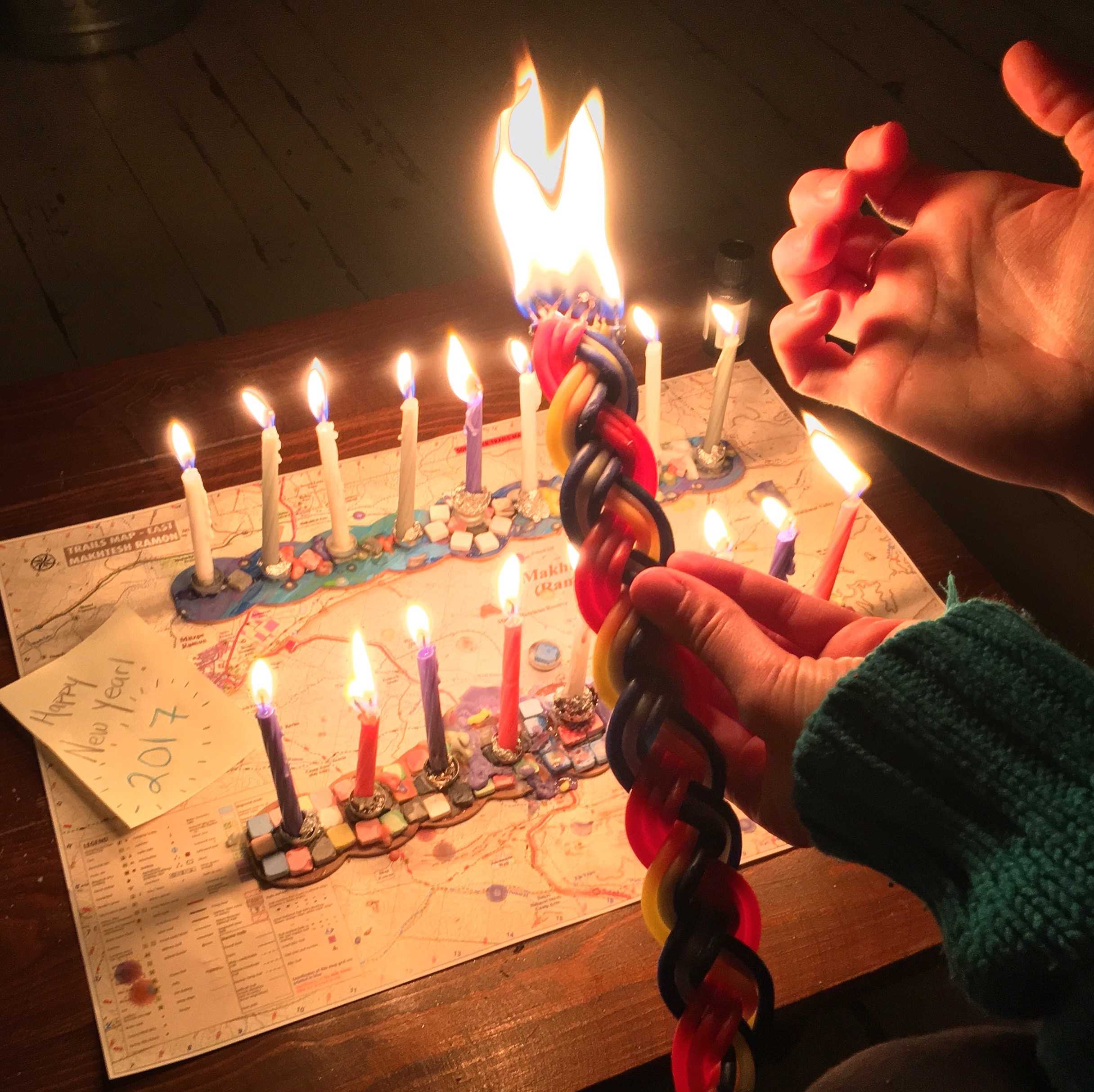 This year, the last night of Hanukah was also on Havdalah  and  New Year's Eve, which was pretty awesome