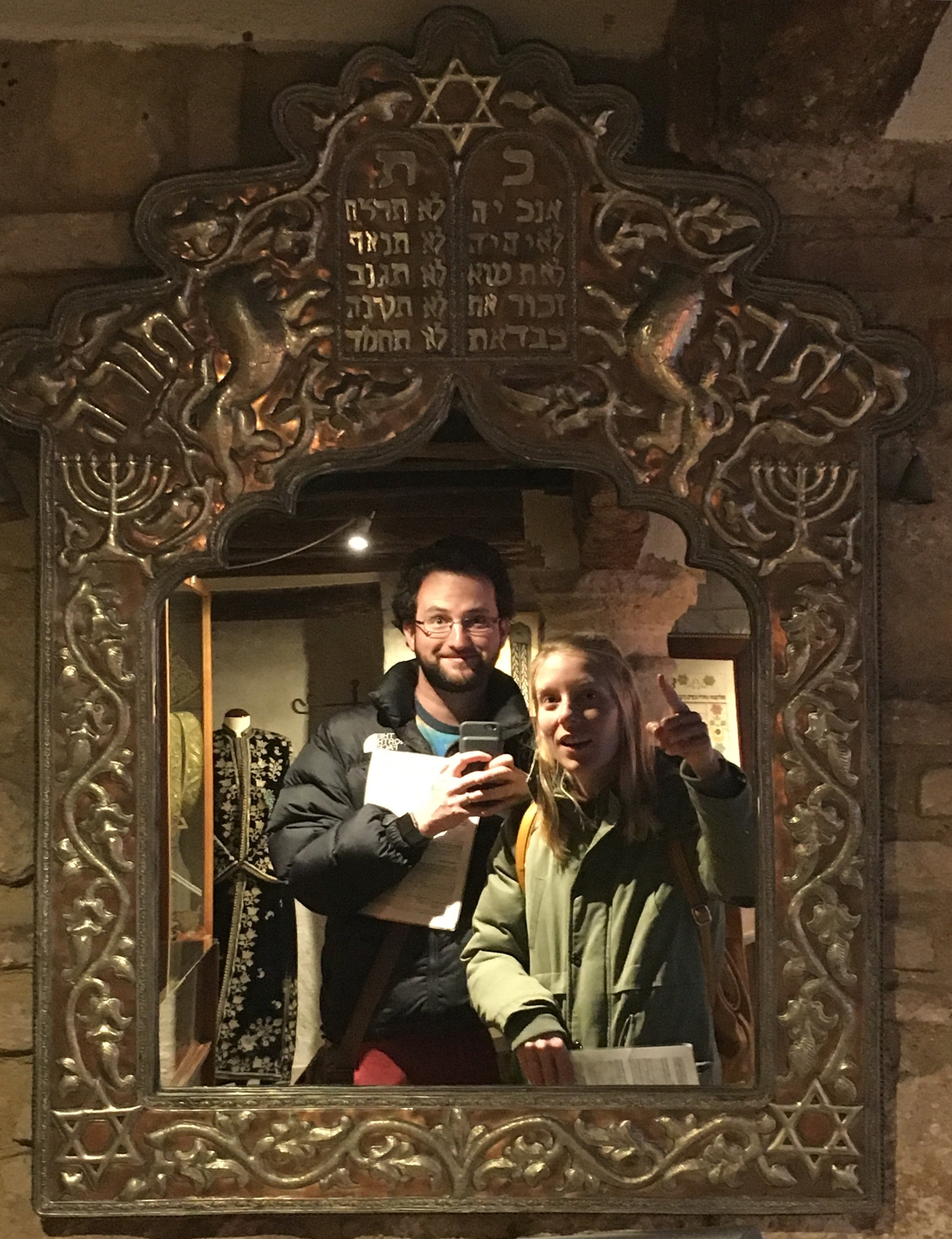 Ariel and me framed by an epic Sefardic mirror