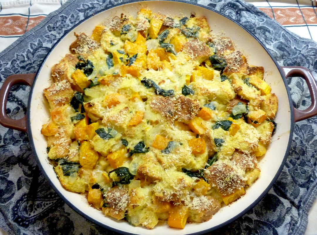 Butternut Squash, Kale and Parmesan Bread Pudding