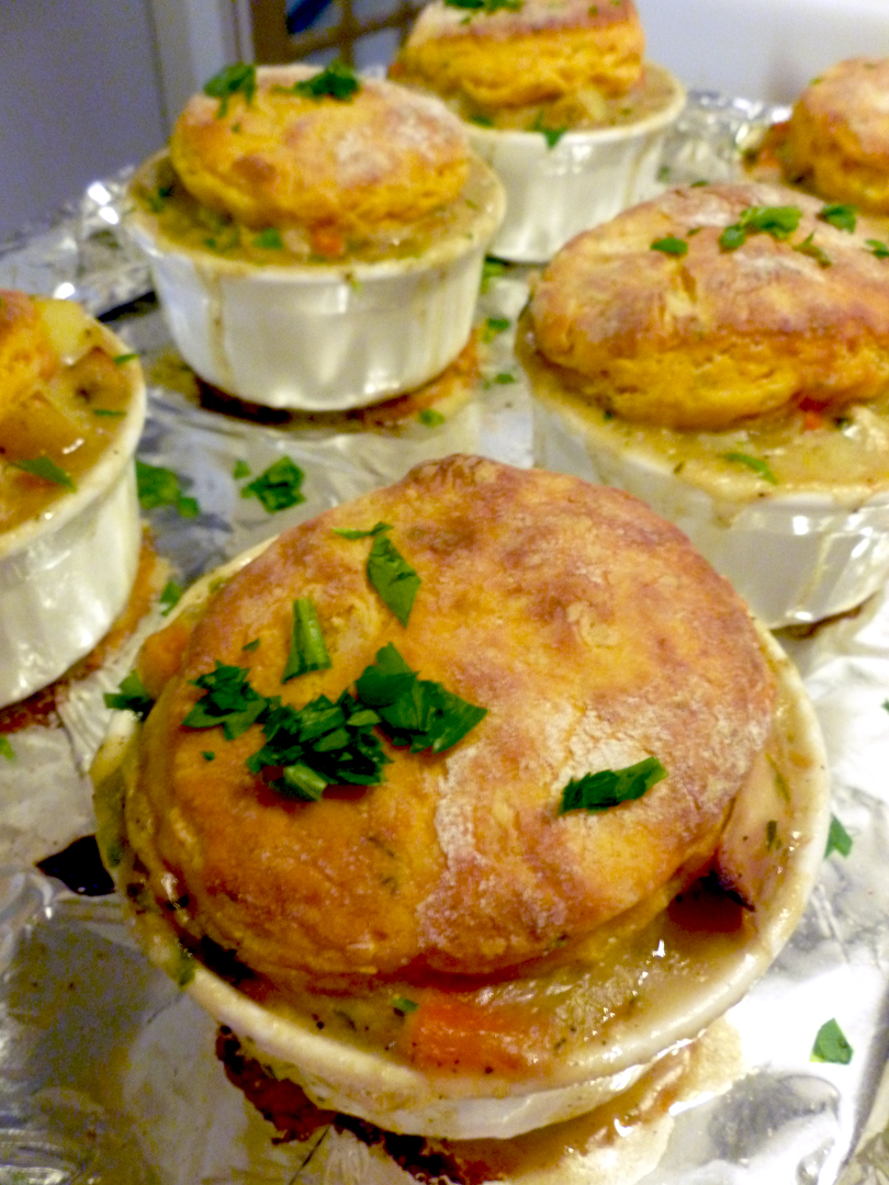 Individual Chicken Pot Pies with Lemon-Thyme Sweet Potato Biscuit