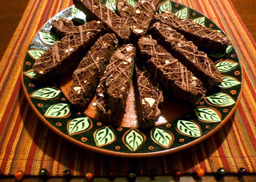 Chocolate Hazelnut and Ginger Biscotti