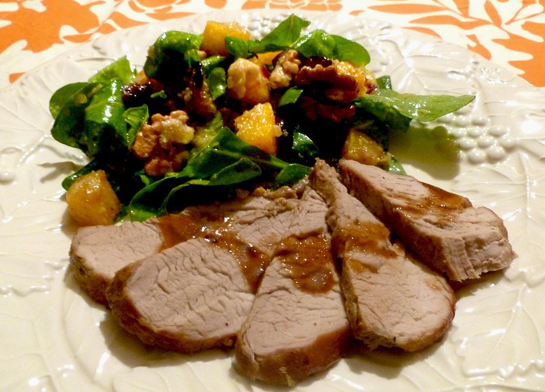 Bourbon-Mustard Glazed Pork Tenderloin with Roasted Butternut Squash Salad