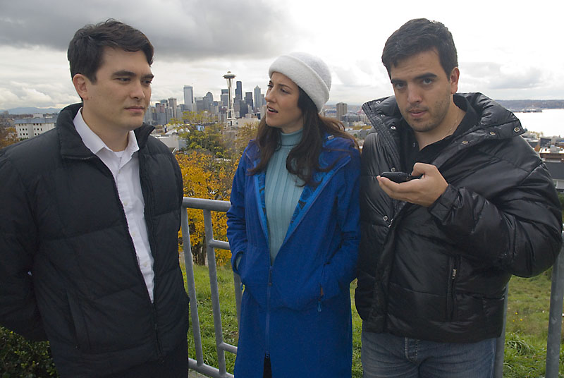 Kirk, Lita, and Humberto podcasting on Queen Anne, Seattle (2008)