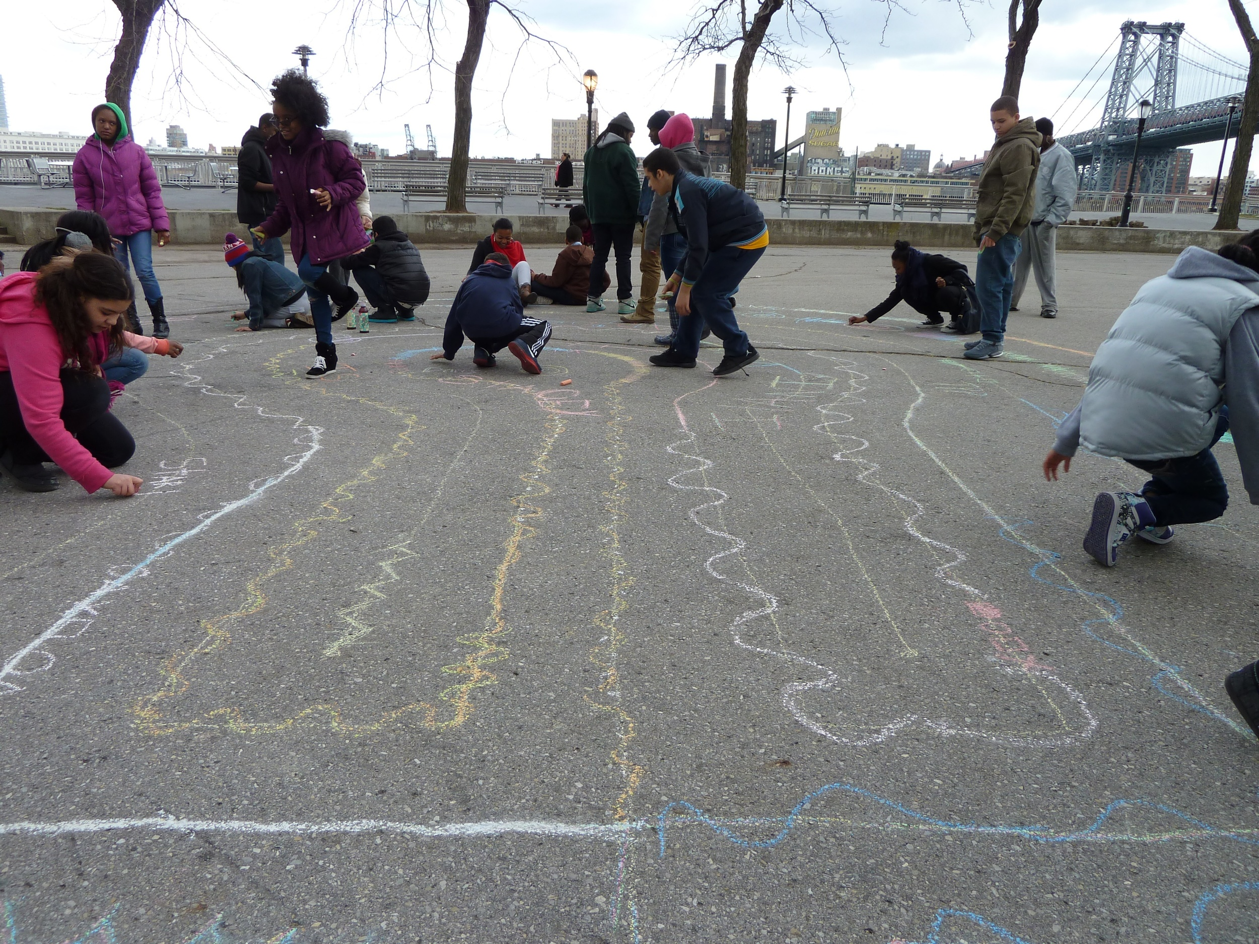children learning about and making labyrinths.