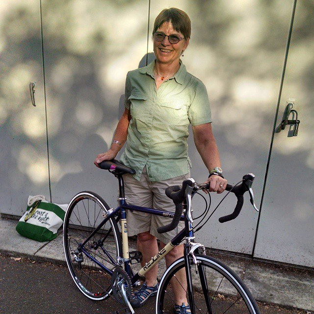 """My mom's semi custom bike. We started with a frame we bought at our famous swap meet and collected some very nice """"lightly"""" used components and built a sweet so everything road bike with room for racks and fenders!"""