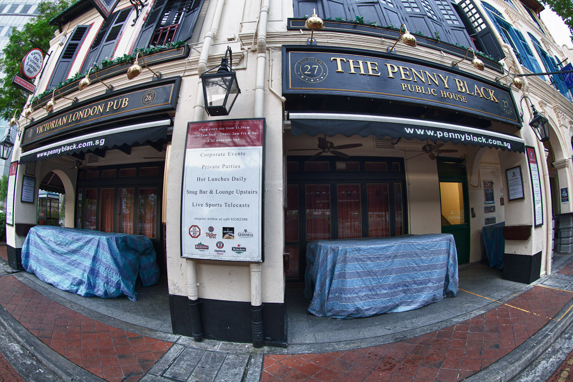 A photo of the Penny Black Victorian London Pub is located at the Raffles Place entrance to Boat Quay in Singapore, taken on a morning walk today.