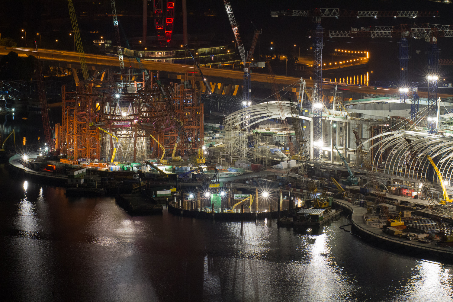 Before:  ArtScience Museum and Marina Bay Sands complex under construction in December 2009.