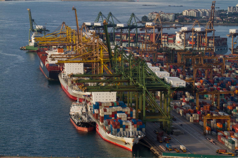 Singapore Cargo Port viewed from Marina Bay