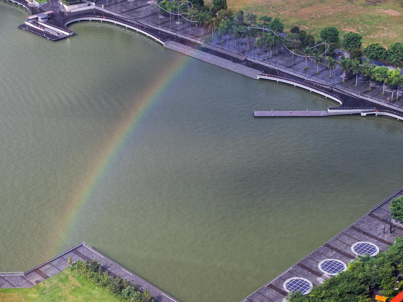 Rainbow over corner of Marina Bay Singapore