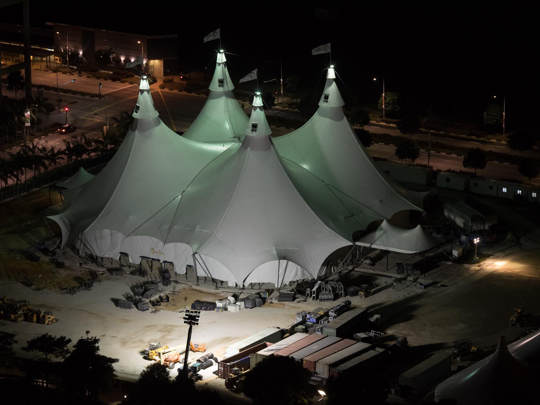 Cavalia tent being setup at Marina Bay, Singapore