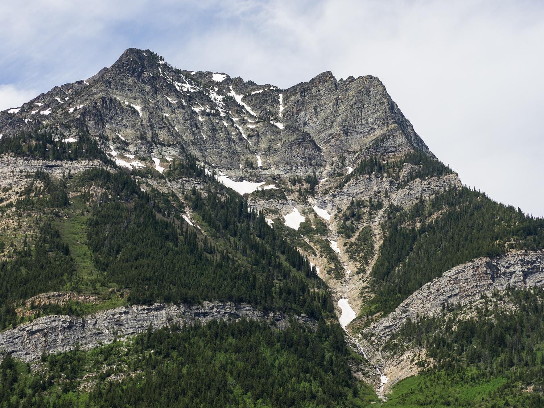 Geologic layers on west side of Upper Waterton Lake (June 2015)