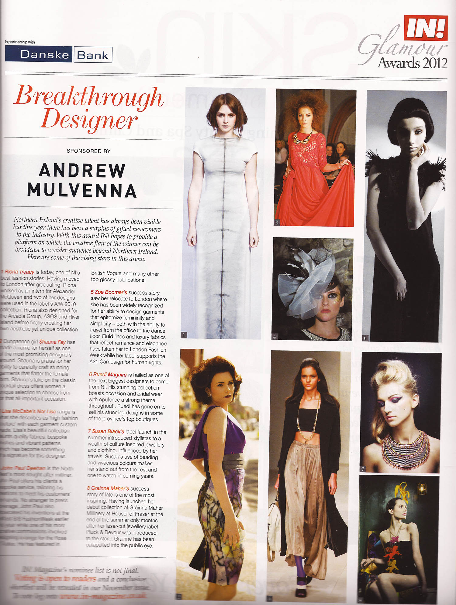 Nominations for Breakthrough Designer Black dress top right - IN! Magazine, Oct 2012