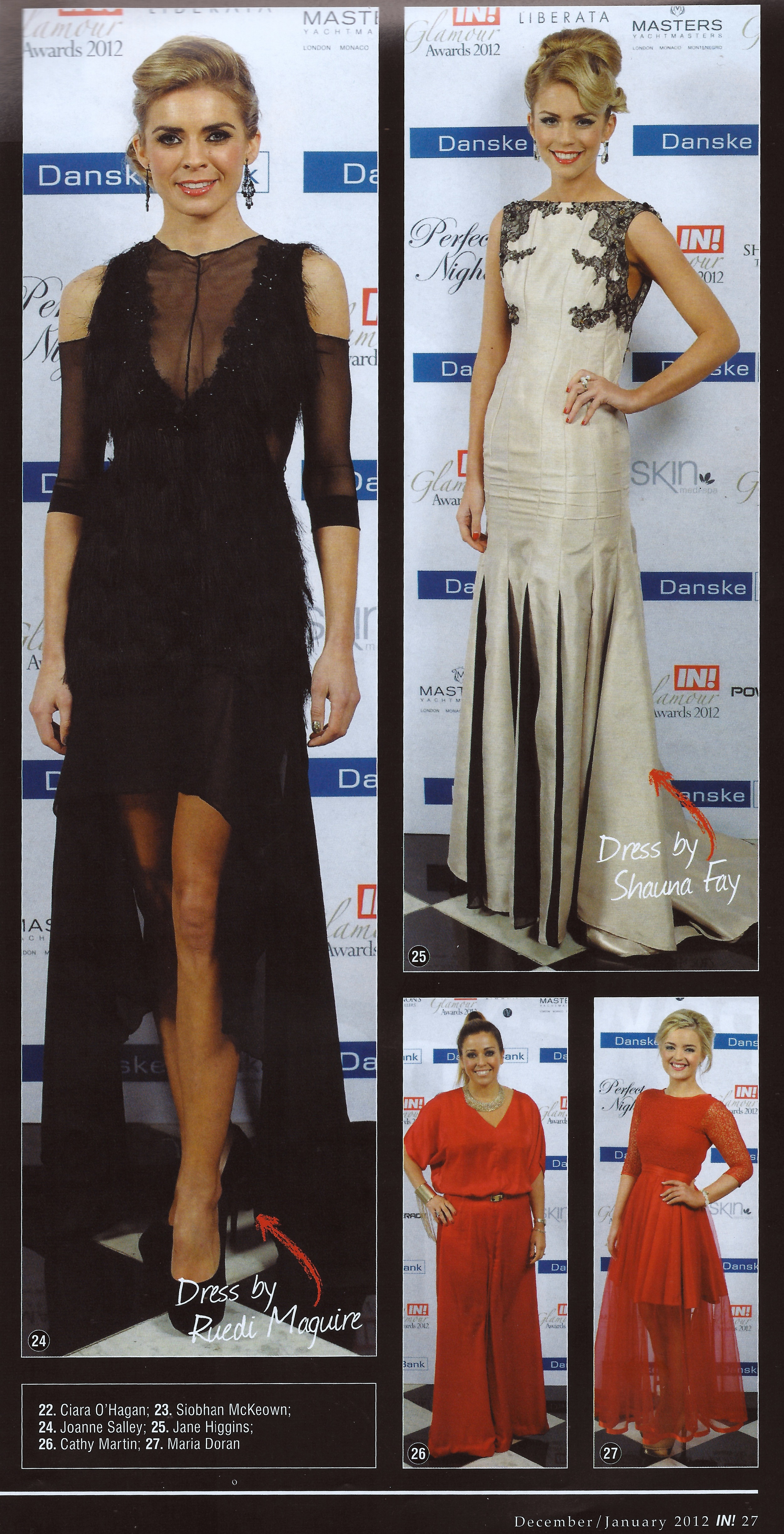 Joanne Salley left and Maria Doran BBC Young Apprentice bottom right, wearing RUEDI - IN! Magazine Awards Dec 2012