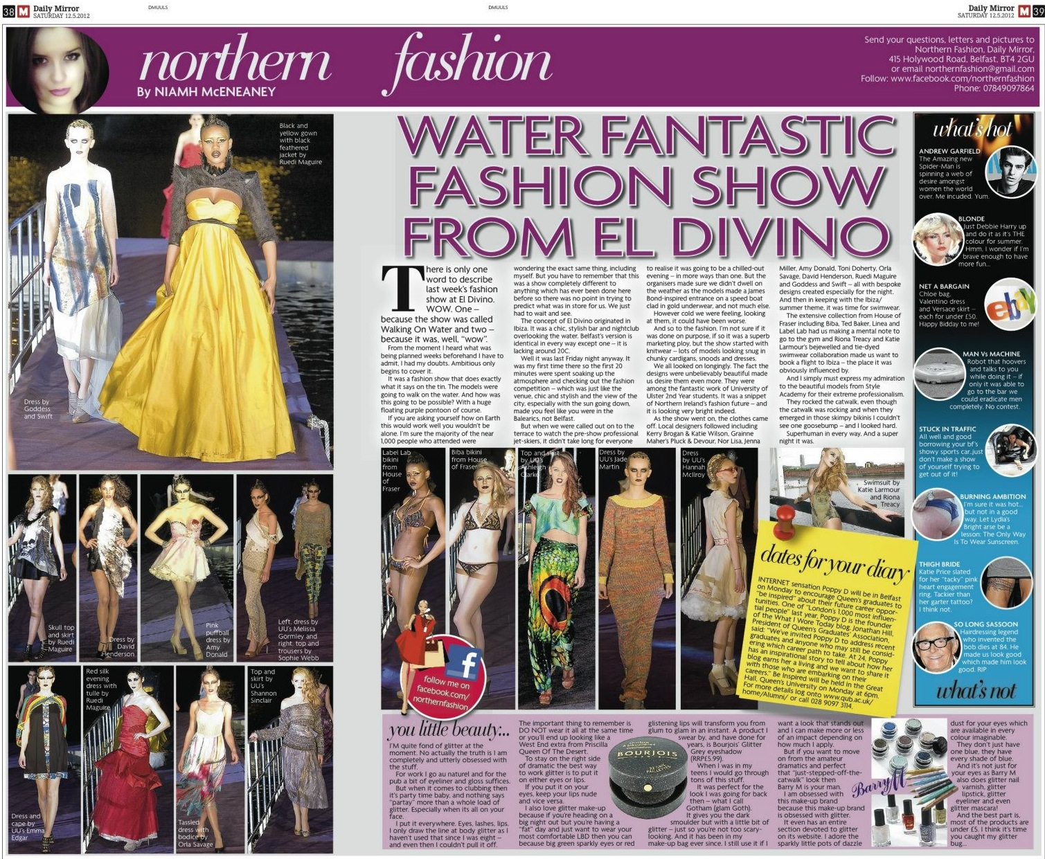 Daily Mirror, Northern Fashion, Walk on Water with El Divino