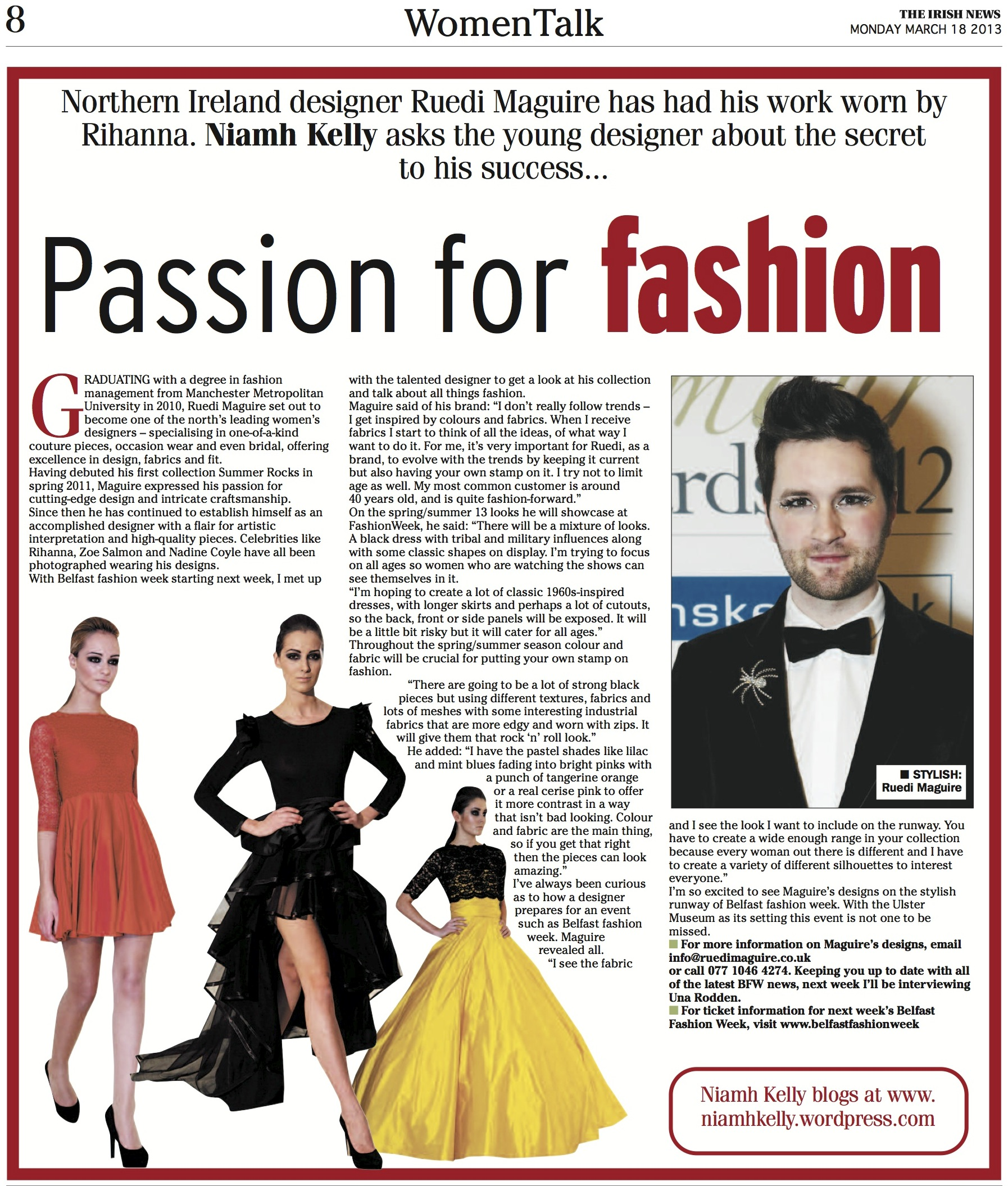 Passion For Fashion, Women Talk, THE IRISH NEWS, MONDAY MARCH 18 2013
