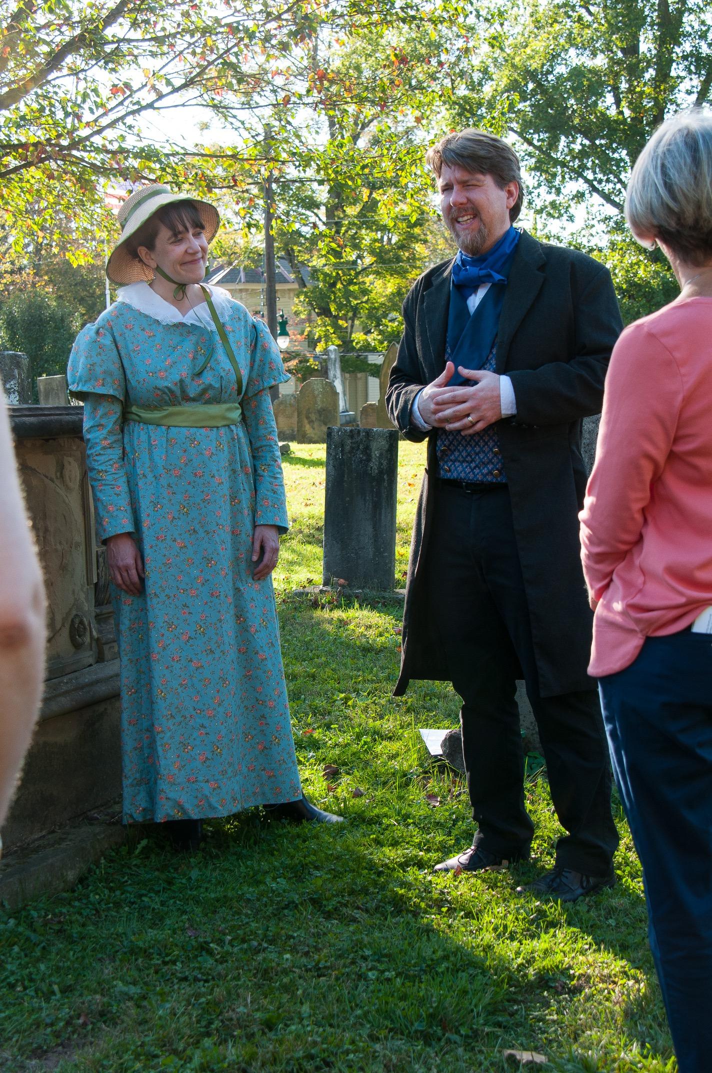 Anna Nekola as Isabella Mower Richards and Bill Kirkpatrick as Lucius Mower.