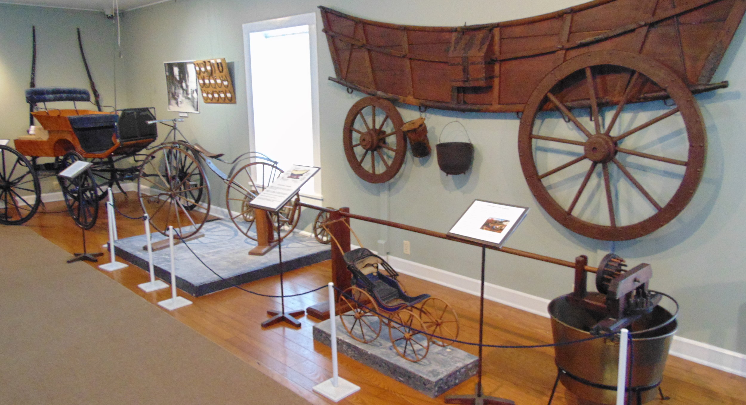 The Museum's main room is devoted to transportation, from buggies to bicycles.