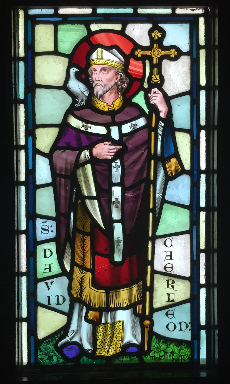 Stained glass depiction of Saint David, designed by  William Burges , at  Castell Coch ,  Cardiff .