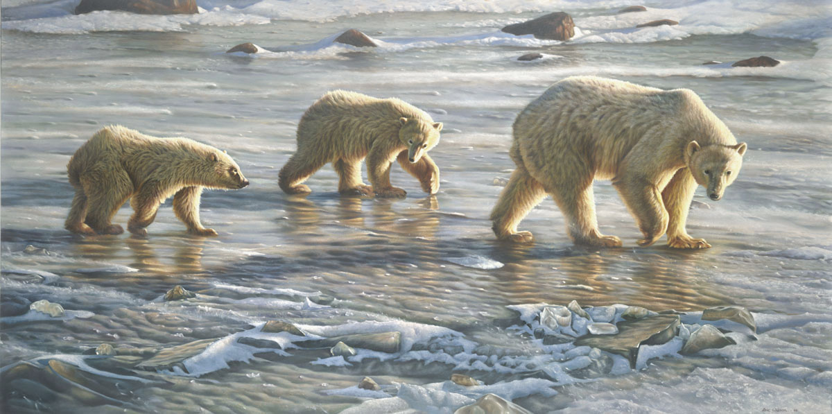 'Walking on Thin Ice' Oil on board 27 by 54 Inches
