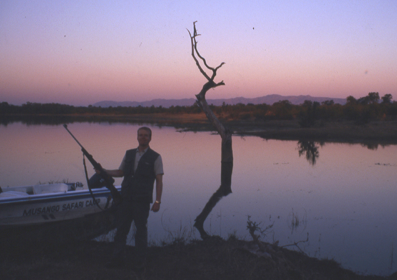 Lake Kariba, Zimbabwe. prime leopard territory. Wildlife Artist Eric Wilson conducts research on leopards in the area.