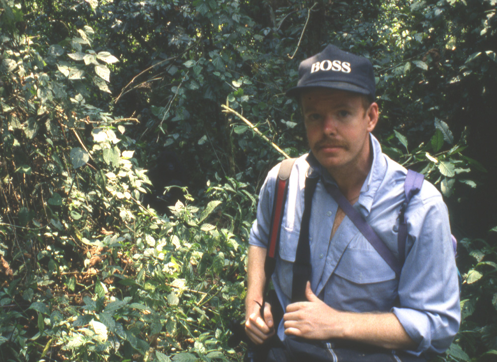 Wildlife Artist Eric Wilson in the Jungles of Kahuzi Biega researching mountain gorillas.