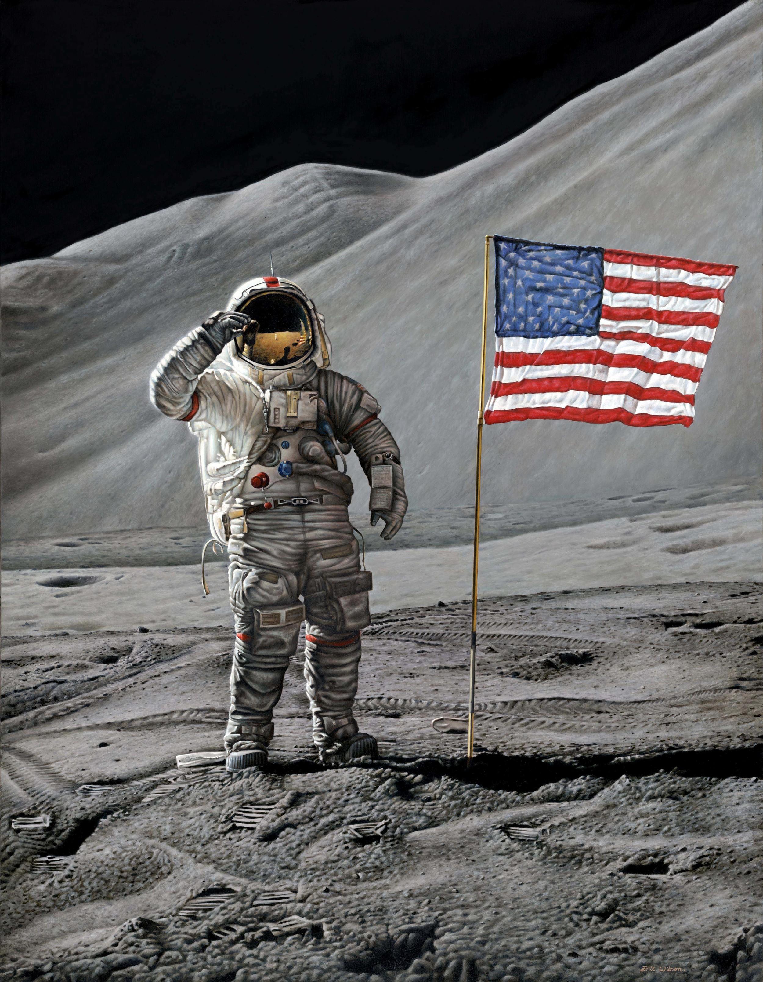 Apollo 15 commander David Randolf Scott at Hadley base on the moon during the Apollo 15 mission.