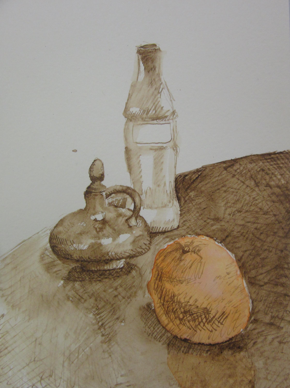 Still life with coke bottle, orange, and oil pot