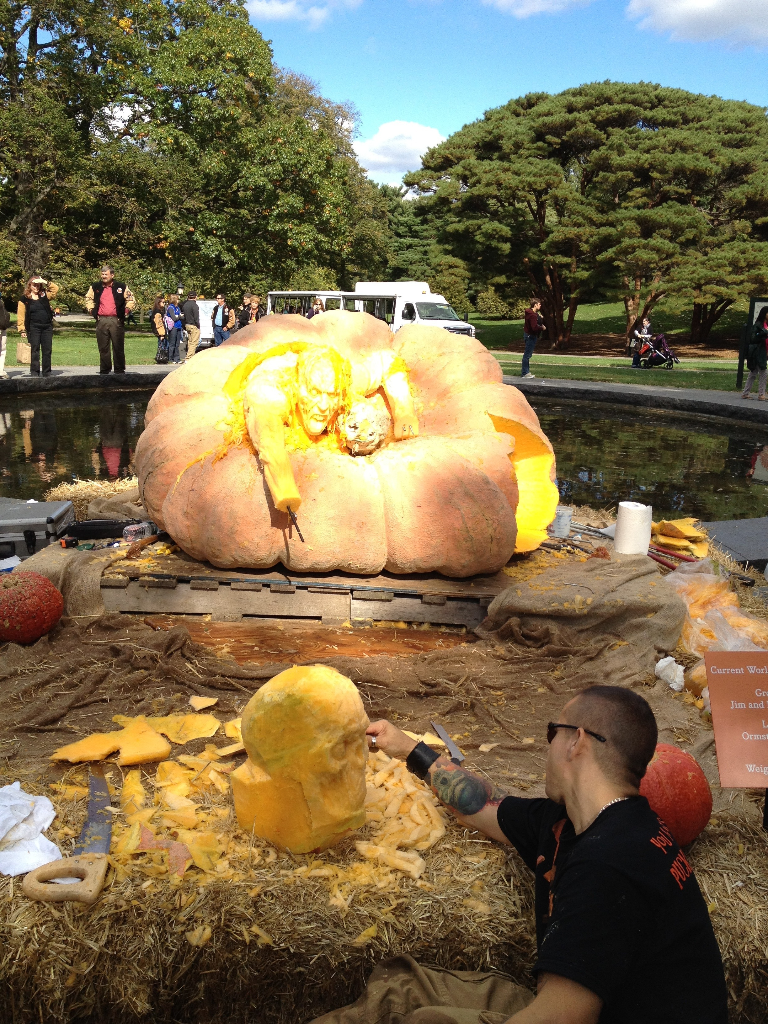 Giant Pumpkin Carving, NY Botanical Garden