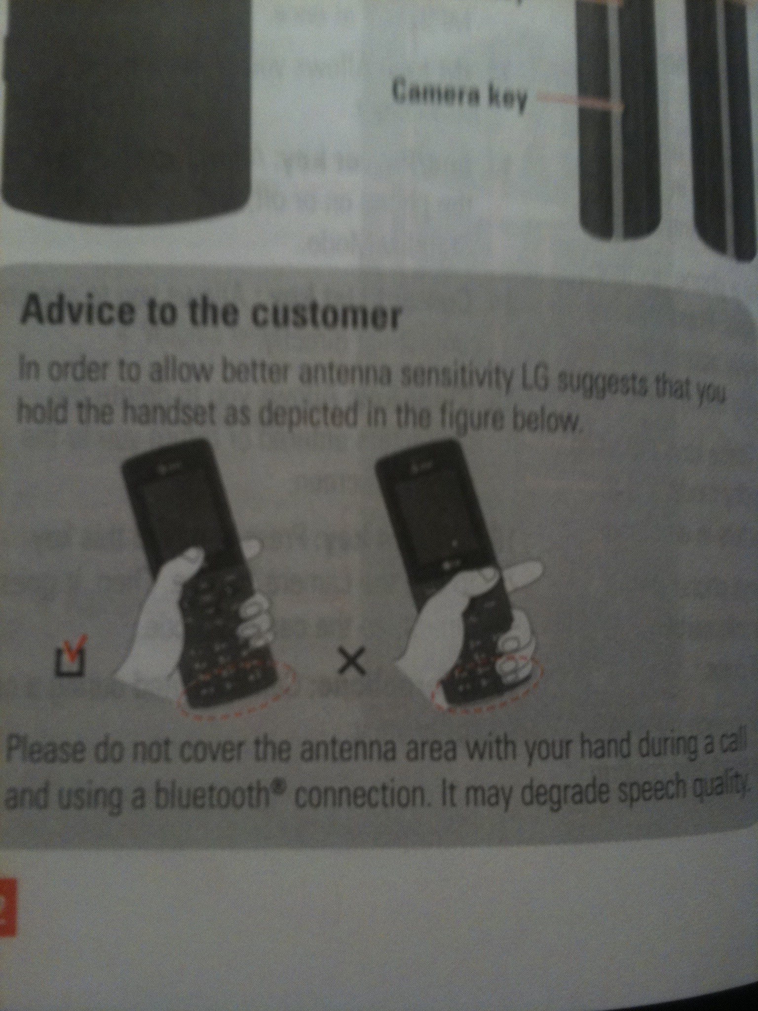 My wife just upgraded to a simple LG slider cellphone. The instructions (pre-iPhone 4) included this #deathgrip warning diagram.