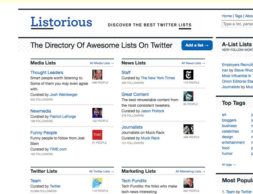 """I was at the top of  Listorious   in a prime location most of the day after Twitter lists came out of beta, but then @Kitson tied me around 9 p.m. and has now bumped me down a notch. Alas. Still, not bad for a list I threw together on a whim the first night of the beta. <Edited to correct dumb """"Listerous"""" typo>"""
