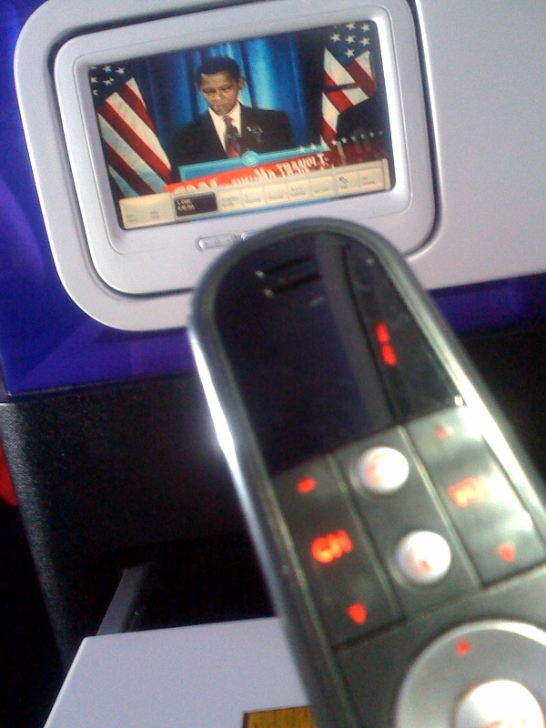 Virgin America Red touch screen and remote.