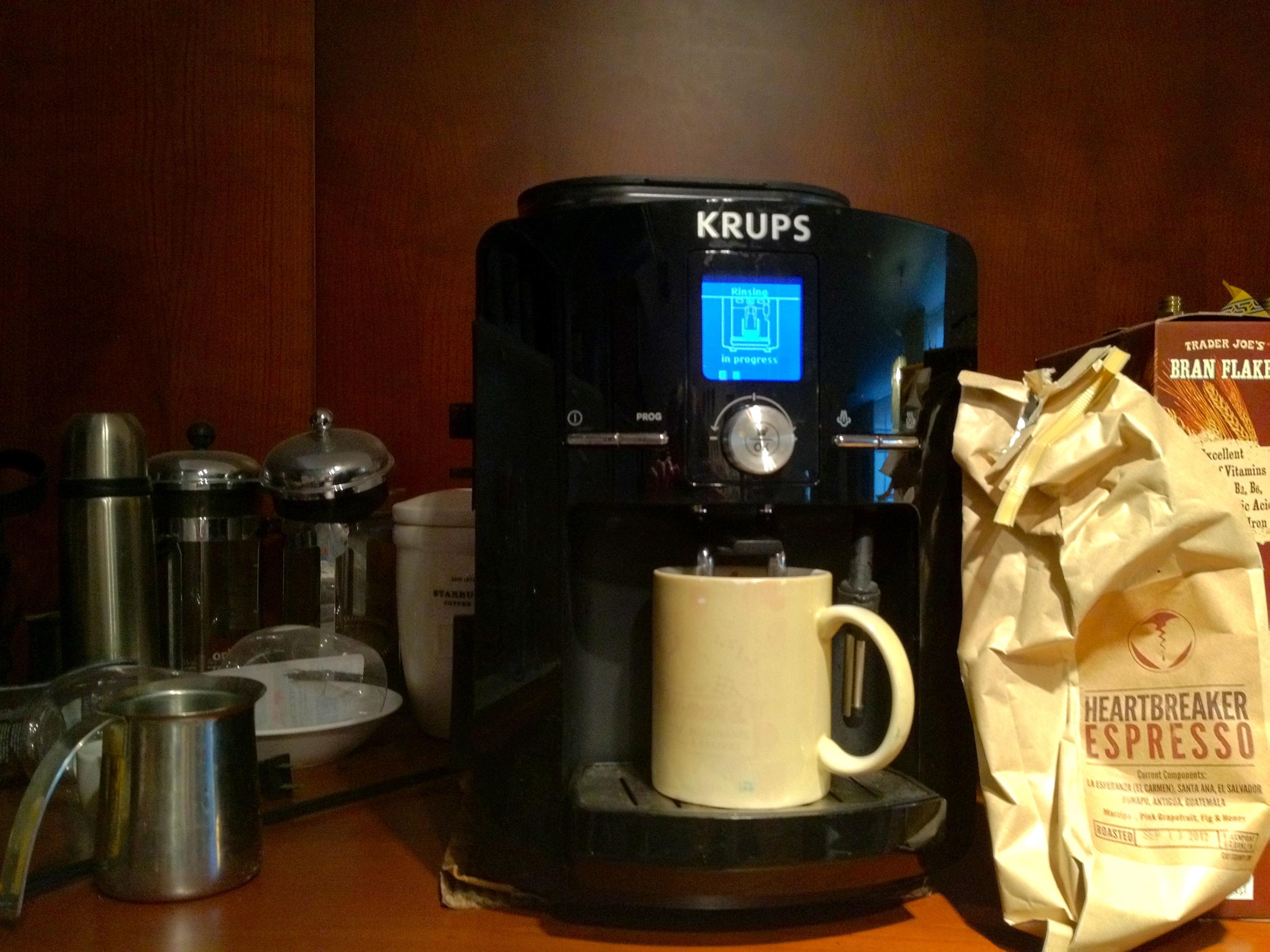 The Krups Espressaria full automatic espresso machine.
