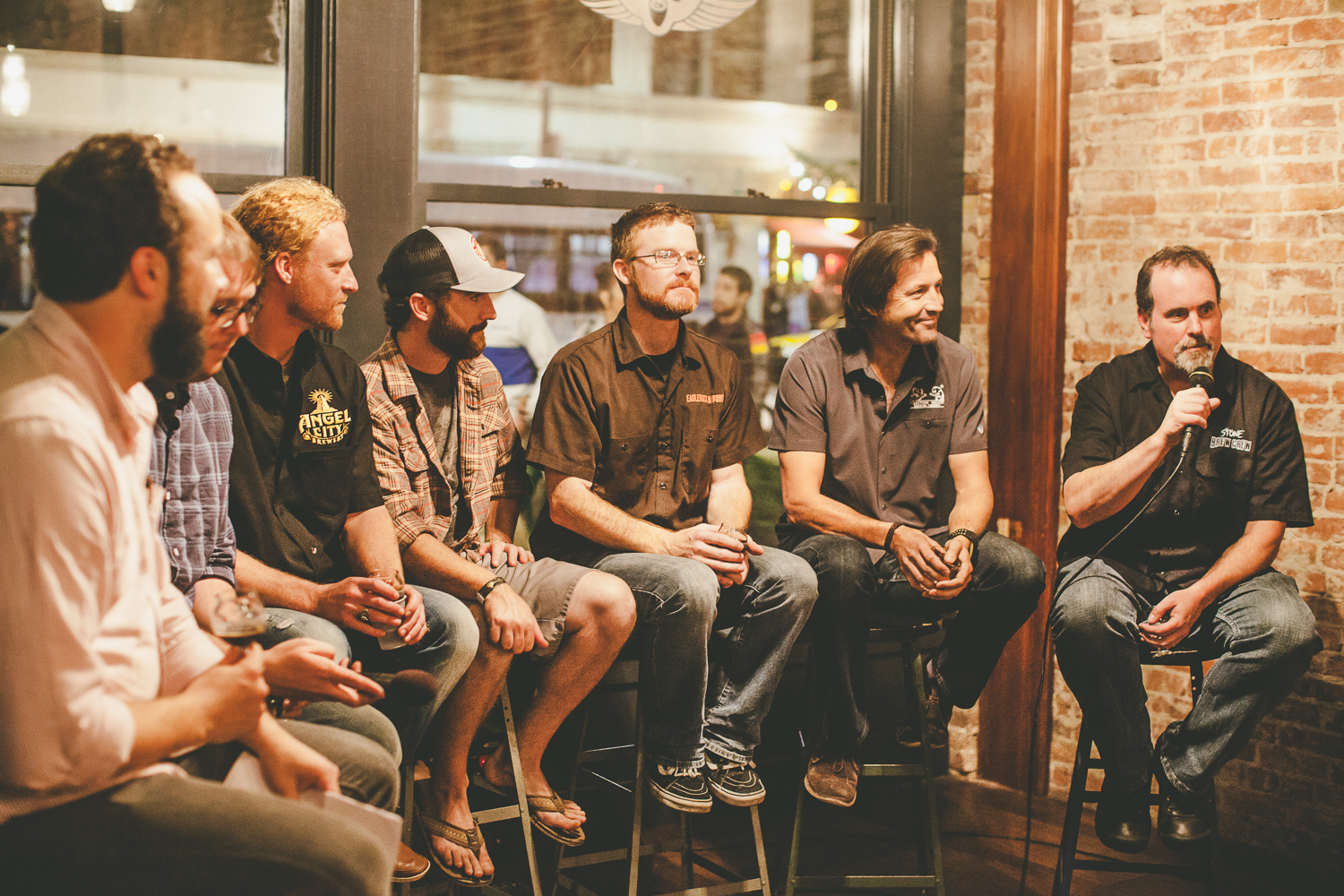 Left to right: Michael Kiser, Good Beer Hunting | John Barley, Solemn Oath | Dieter Foerstner, Angel City | Matt Webster, Lost Abbey/Port | Jereme Raub, Eagle Rock | David Walker, Firestone Walker | Mitch Steele, Stone