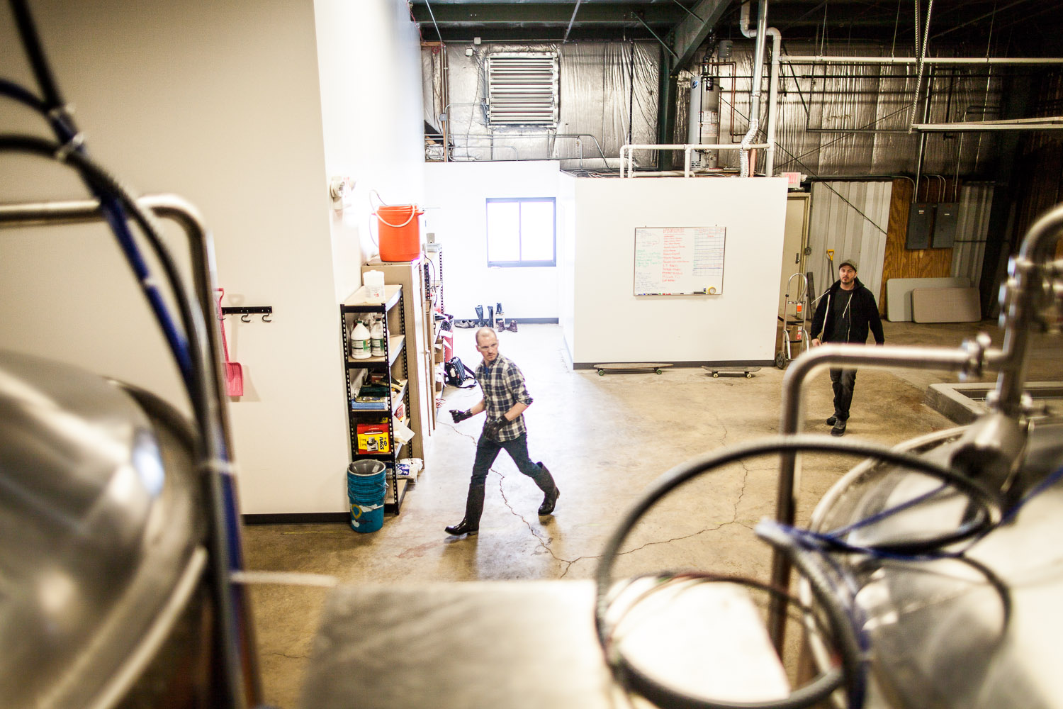 Taproom manager Jeff Cagle and Co-founder Eric Hobbs help get the day started.