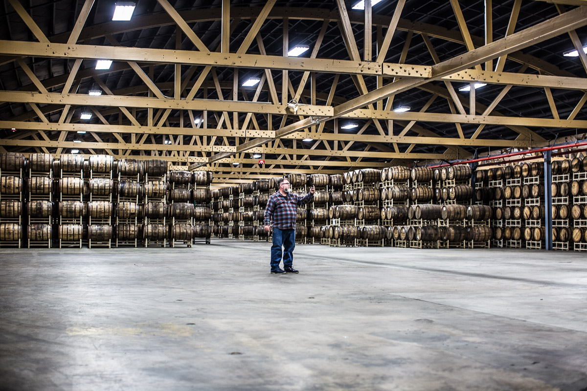Greg Hall seeing the new Goose Island Barrel Warehouse for the first time in more than a year.